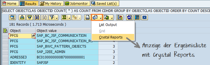 Screenshot - Crystal Reports in SQL Cockpit
